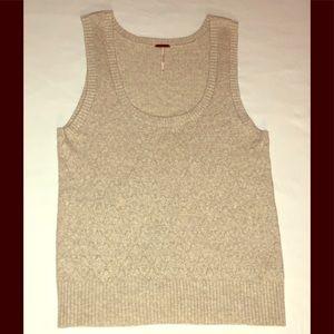 Free People Knit Heather Beige Sweater Vest